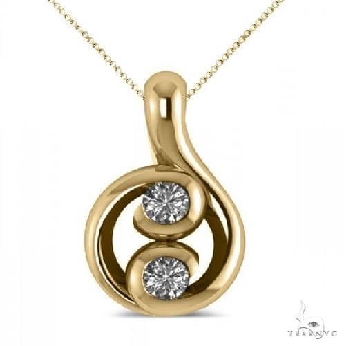 Diamond Two Stone Pendant Necklace 14k Yellow Gold Stone