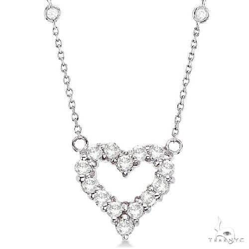 Diamonds By The Yard Heart Pendant Necklace 14k White Gold Diamond