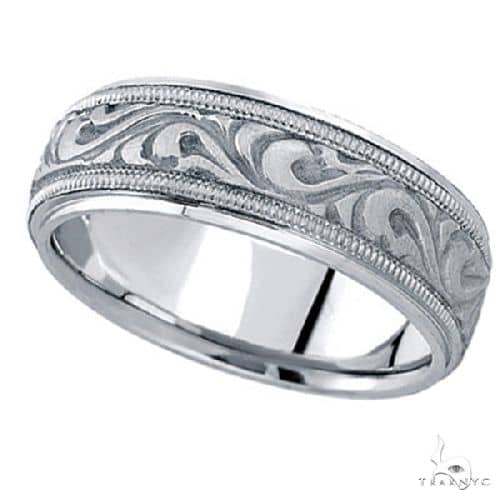 Antique Style Handmade Wedding Band in Platinum (7.5mm) Style