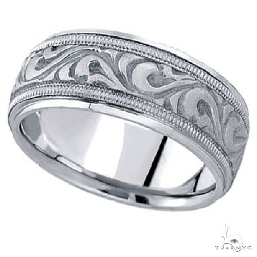 Antique Style Hand Made Wedding Band in Platinum (9.5mm) Style