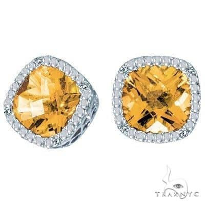 Cushion Cut Citrine and Diamond Earrings in 14k White Gold Stone