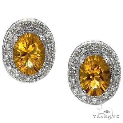 Oval Citrine and Diamond Earrings 14k White Gold (8x6mm) Stone