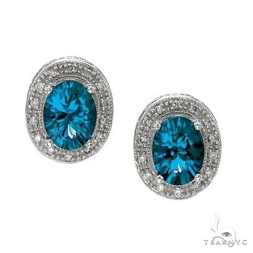 Oval Blue Topaz and Diamond Earrings 14k White Gold (8x6mm) Stone