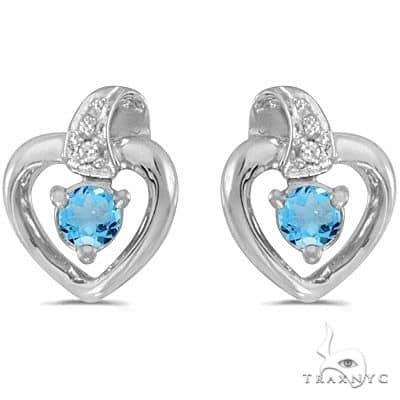 Blue Topaz and Diamond Heart Earrings 14k White Gold (0.20ctw) Stone