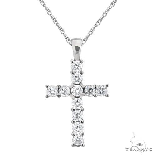 Prong-Set Diamond Cross Pendant Necklace 14k White Gold Stone