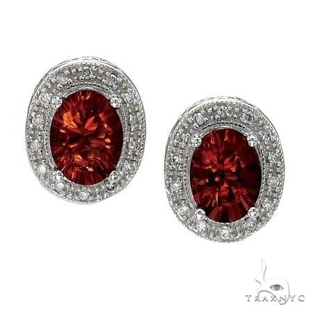Oval Garnet and Diamond Earrings 14k White Gold (8x6mm) Stone