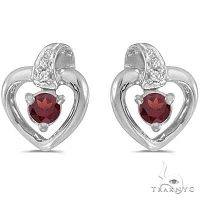 Garnet and Diamond Heart Earrings 14k White Gold Stone