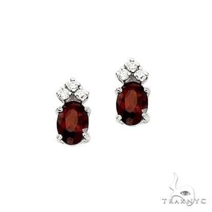 Oval Garnet and Diamond Stud Earrings 14k White Gold Stone