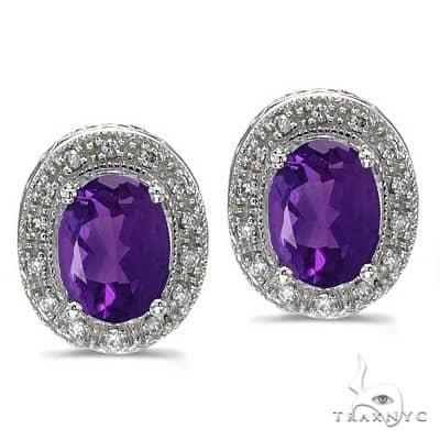 Oval Amethyst and Diamond Earrings 14k White Gold (8x6mm) Stone