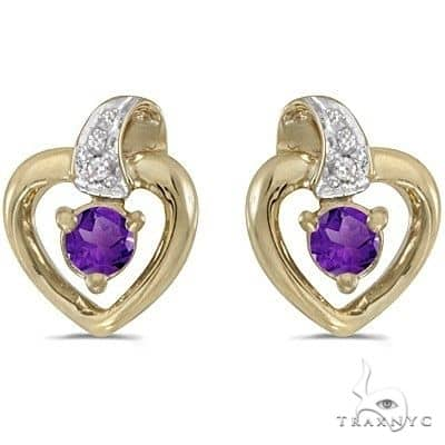 Amethyst and Diamond Heart Earrings 14k Yellow Gold Stone