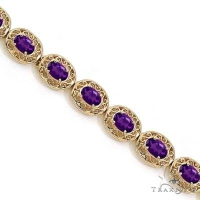 Amethyst Antique Style Filigree Link Bracelet 14k Yellow Gold Gemstone & Pearl