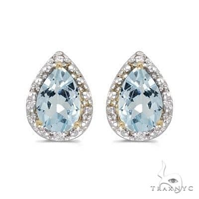 Pear Aquamarine and Diamond Stud Earrings 14k Yellow Gold Stone