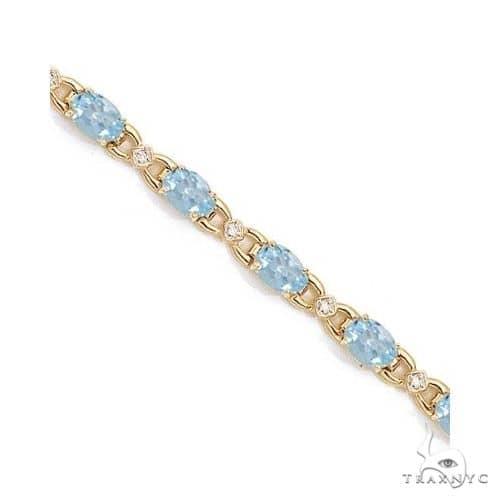 Diamond and Aquamarine Bracelet 14k Yellow Gold Gemstone & Pearl