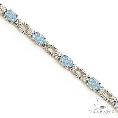 Oval Aquamarine and Diamond Link Bracelet 14k White Gold Gemstone & Pearl