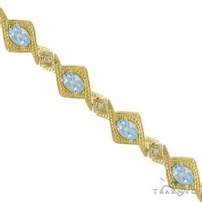Antique Style Aquamarine and Diamond Link Bracelet 14k Yellow Gold Gemstone & Pearl