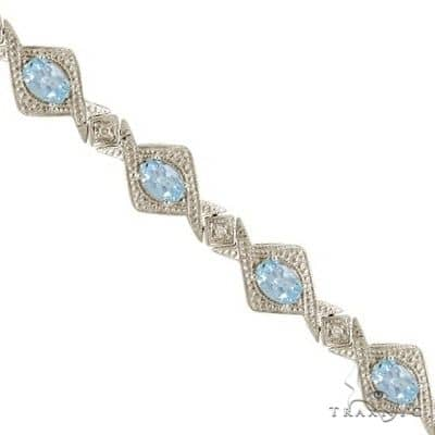 Antique Style Aquamarine and Diamond Link Bracelet 14k White Gold Gemstone & Pearl