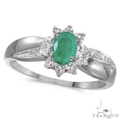 Emerald and Diamond Right Hand Flower Shaped Ring 14k White Gold Anniversary/Fashion