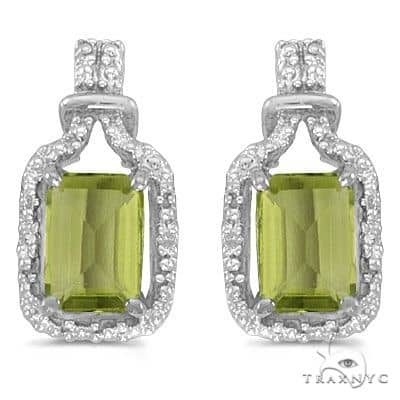 Emerald-Cut Peridot and Diamond Earrings 14k White Gold Stone