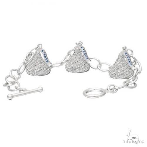 Hersheys Kiss Diamond Toggle Bracelet 3 Charms 14k White Gold Diamond