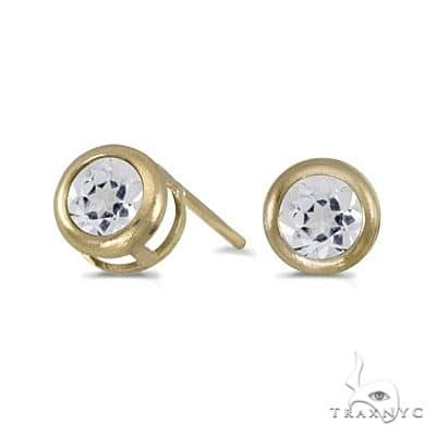 Bezel-Set Round White Topaz Stud Earrings 14k Yellow Gold Stone