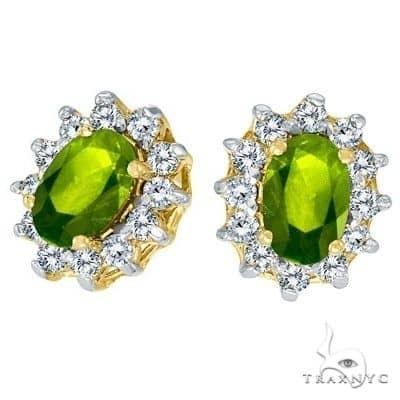 Oval Peridot and Diamond Earrings 14K Yellow Gold Stone
