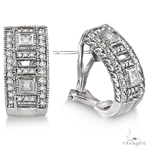 Princess and Round Diamond Huggie Earrings 18K White Gold Stone