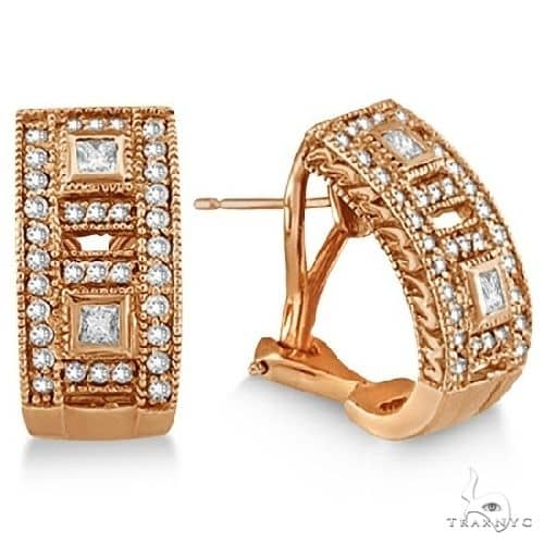 Princess and Round Diamond Huggie Earrings 18K Rose Gold Stone