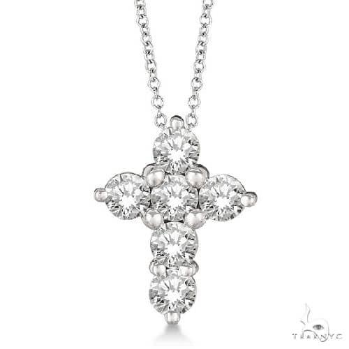 Prong Set Round Diamond Cross Pendant Necklace 14k White Gold Stone