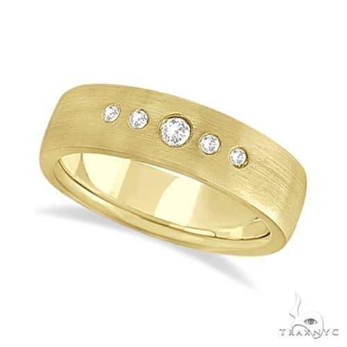Mens Five-Stone Diamond Wedding Band 14k Yellow Gold Stone
