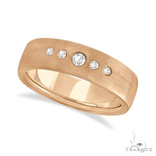 Mens Five-Stone Diamond Wedding Band 14k Rose Gold Stone