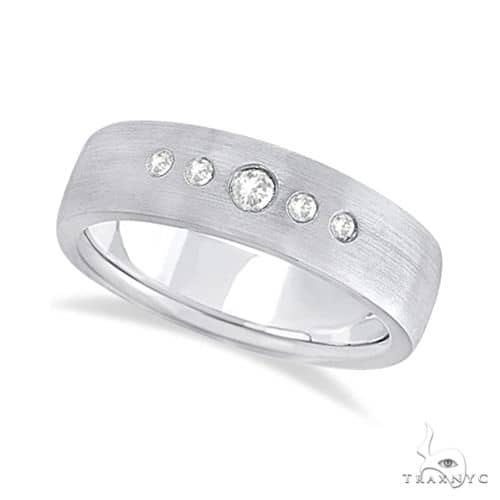Mens Five-Stone Diamond Wedding Band 18k White Gold Stone