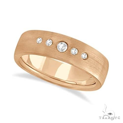 Mens Five-Stone Diamond Wedding Band 18k Rose Gold Stone