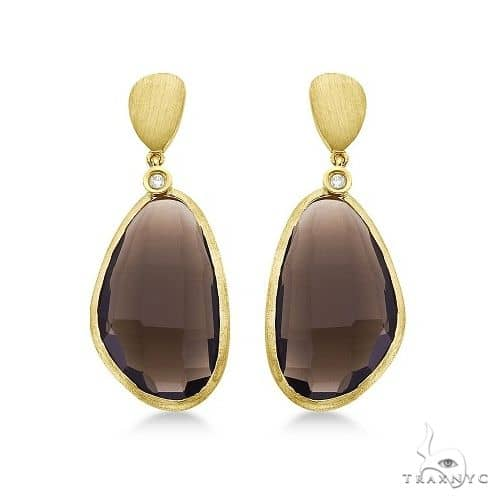 Smokey Topaz and Diamond Bezel Dangle Earrings 14k Yellow Gold Stone