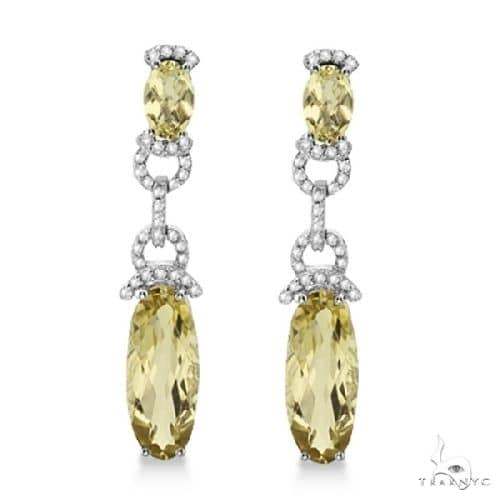 Oval Lemon Quartz and Diamond Dangle Earrings 14k White Gold Stone