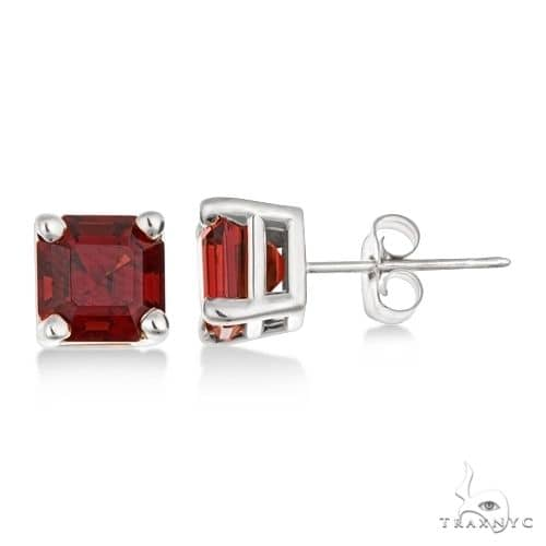 Asscher Cut Garnet Basket Stud Earrings 14k White Gold Stone