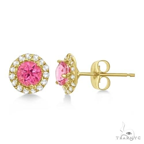 Halo Pink Tourmaline and Diamond Stud Earrings 14k Yellow Gold Stone
