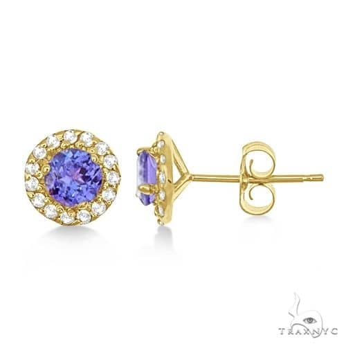 Round Halo Tanzanite and Diamond Stud Earrings 14k Yellow Gold Stone