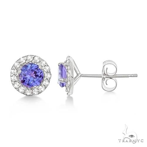 Round Halo Tanzanite and Diamond Stud Earrings 14k White Gold Stone