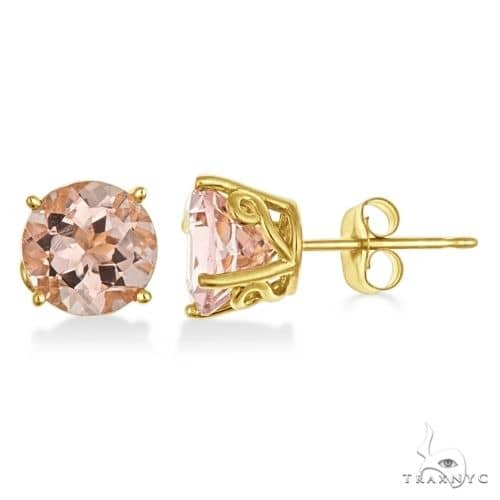 Antique Art Deco Morganite Stud Earrings 14k Yellow Gold Stone