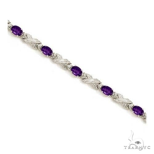 Amethyst and Diamond XOXO Link Bracelet in 14k White Gold Gemstone & Pearl