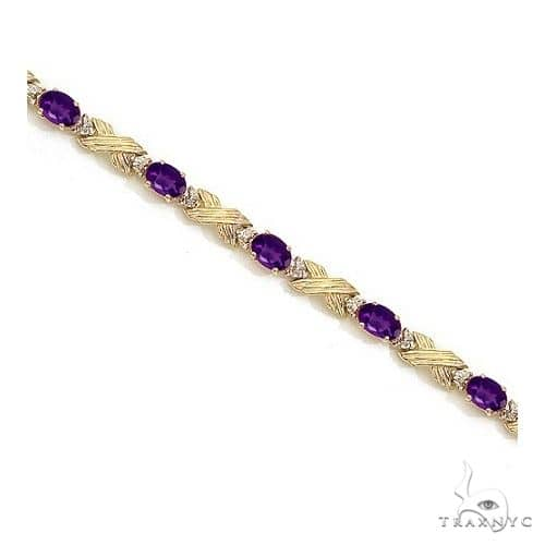 Amethyst and Diamond XOXO Link Bracelet 14k Yellow Gold Gemstone & Pearl