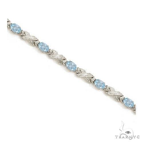 Aquamarine and Diamond XOXO Link Bracelet in 14k White Gold Gemstone & Pearl