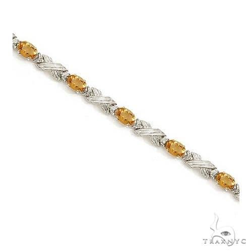 Citrine and Diamond XOXO Link Bracelet in 14k White Gold Gemstone & Pearl