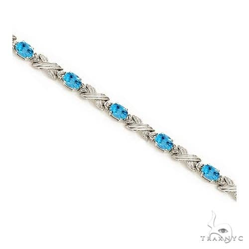 Blue Topaz and Diamond XOXO Link Bracelet in 14k White Gold Gemstone & Pearl
