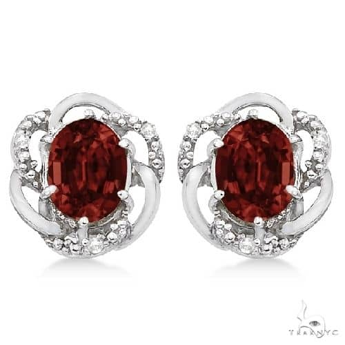 Oval Shaped Red Garnet and Diamond Earrings in 14K White Gold Stone