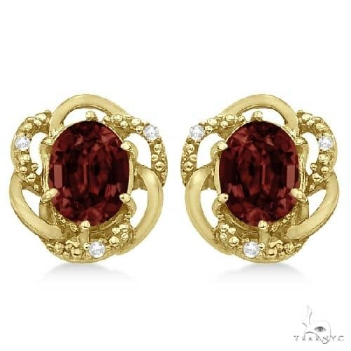Oval Shaped Red Garnet and Diamond Earrings in 14K Yellow Gold Stone