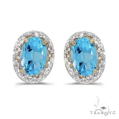 Diamond and Blue Topaz Earrings 14k Yellow Gold (1.14ct) Stone