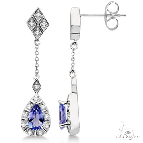 Dangle Drop Diamond and Tanzanite Earrings 14k White Gold Stone