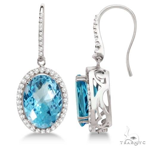 Dangle Diamond and Swiss Blue Topaz Earrings 14k White Gold Stone