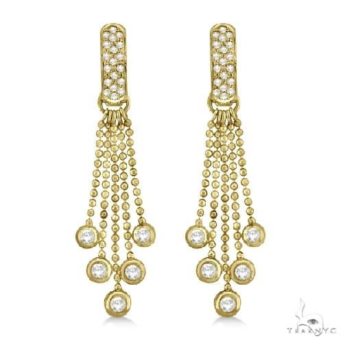 Pave Bridal Diamond Chandelier Earrings 14K Yellow Gold Stone